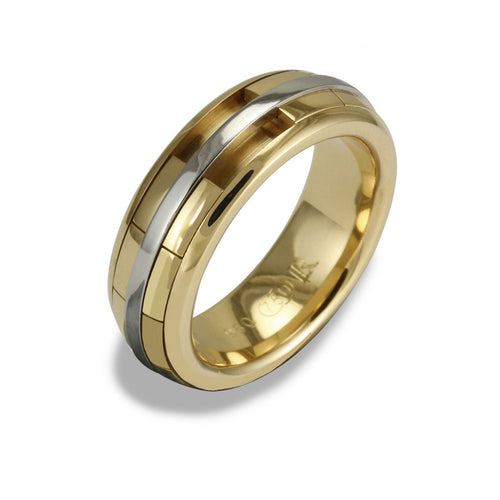 Mens REVOLVER Ring in 18ct Yellow Gold