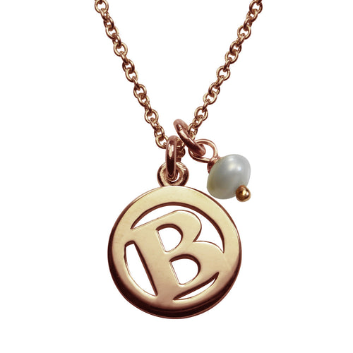 ME & MY Pearl Initial Necklace Rose Gold