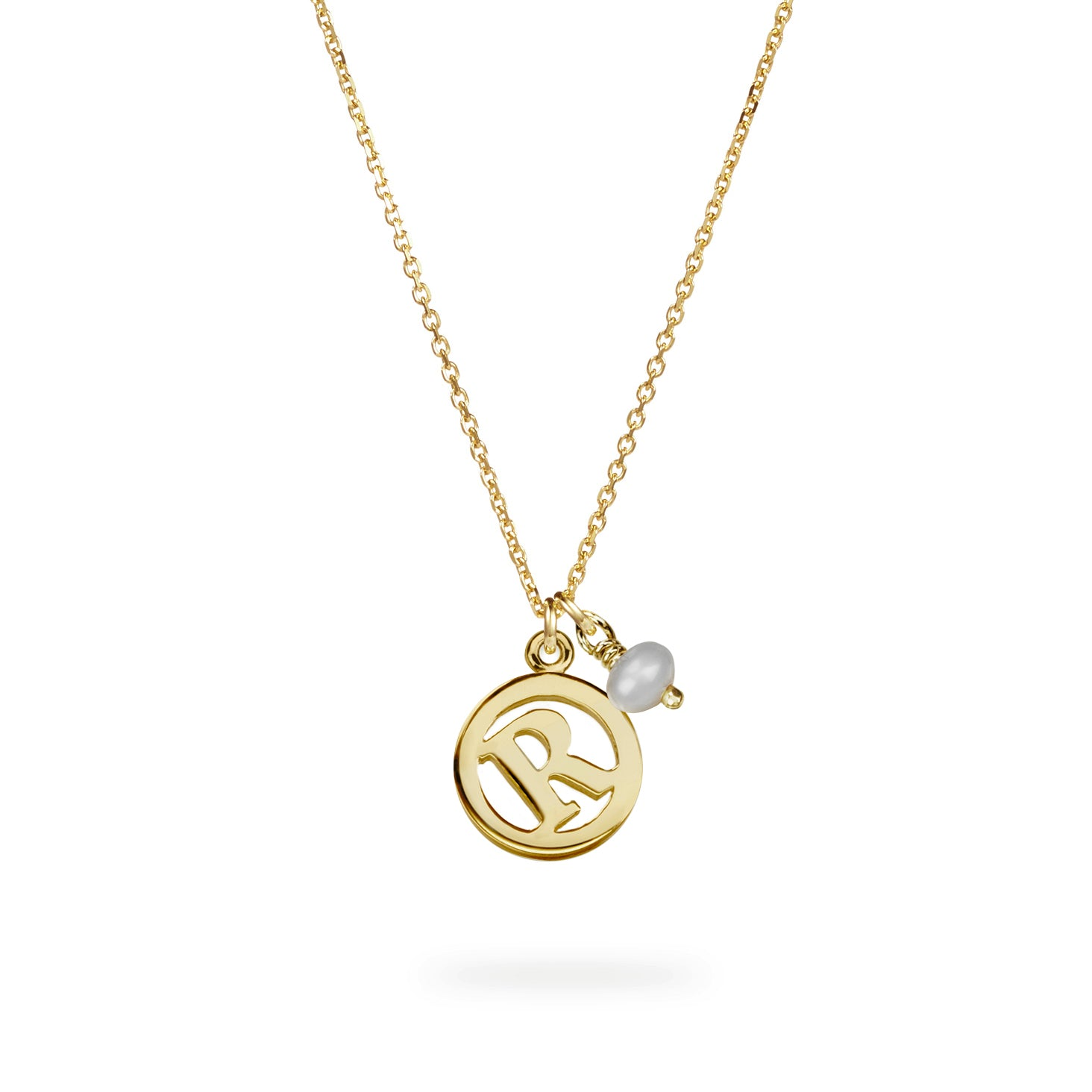 Luke Rose Jewellery gold pearl initial necklace