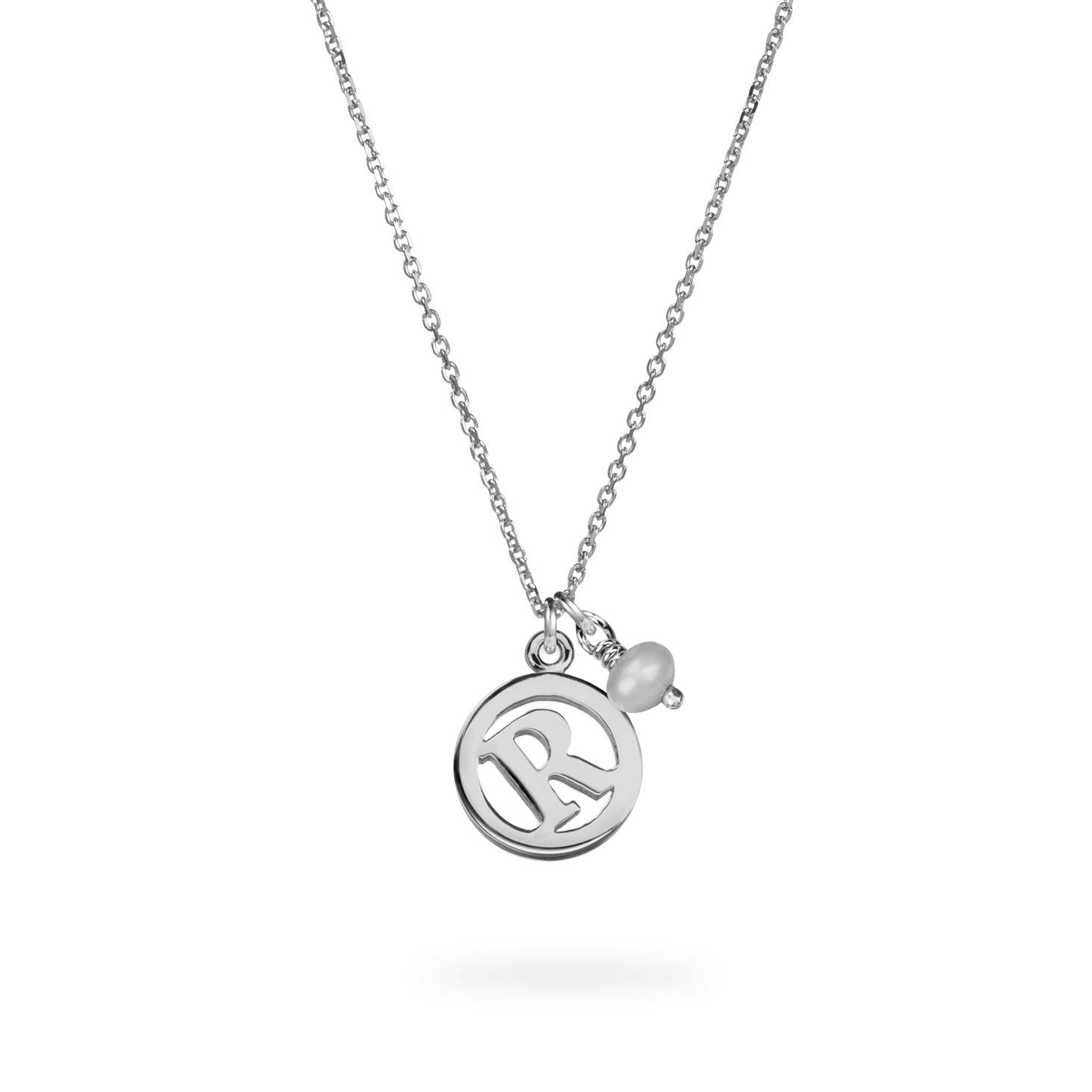 Luke Rose Jewellery silver pearl initial necklace