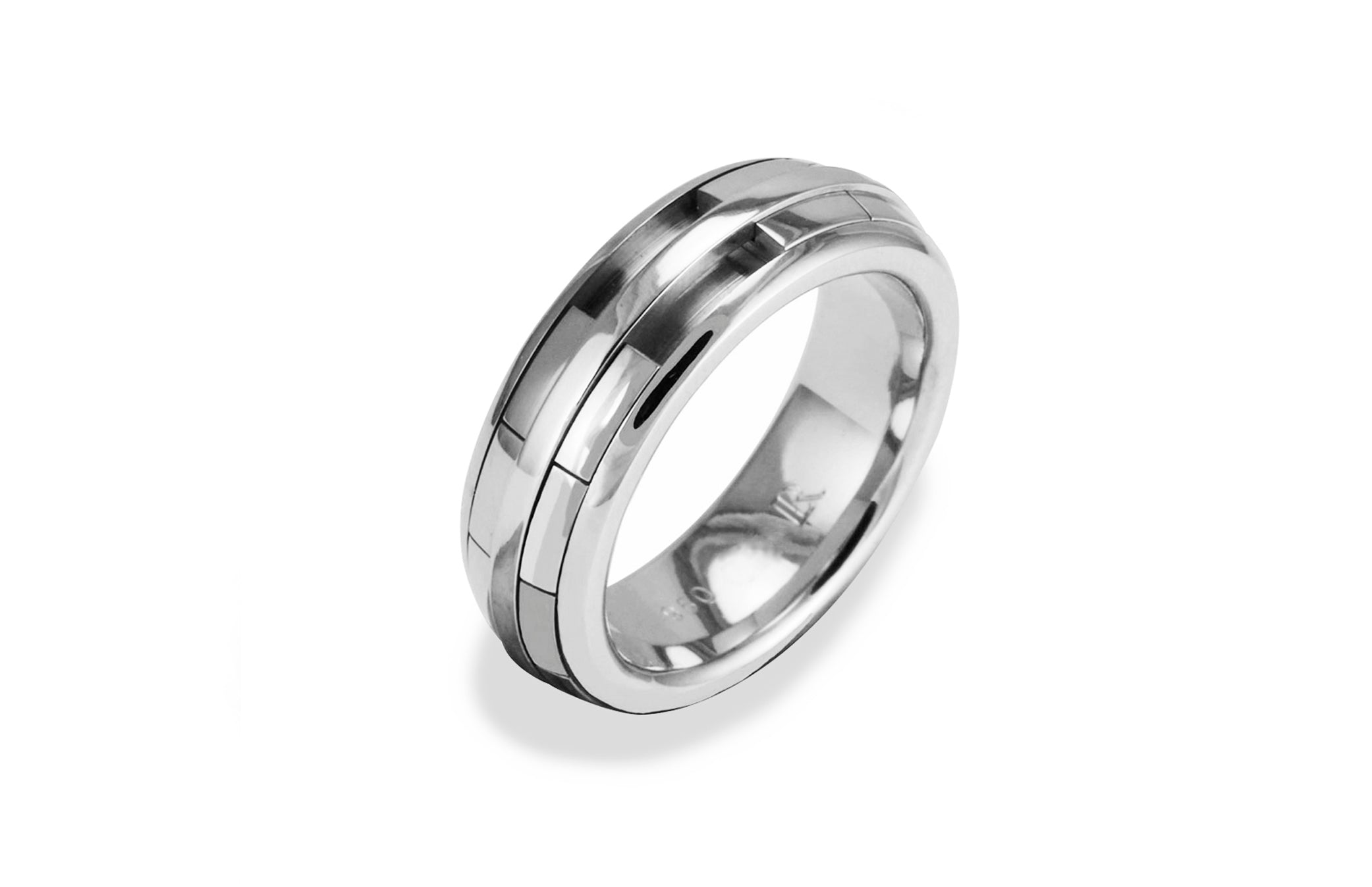 Mens REVOLVER Ring in Platinum
