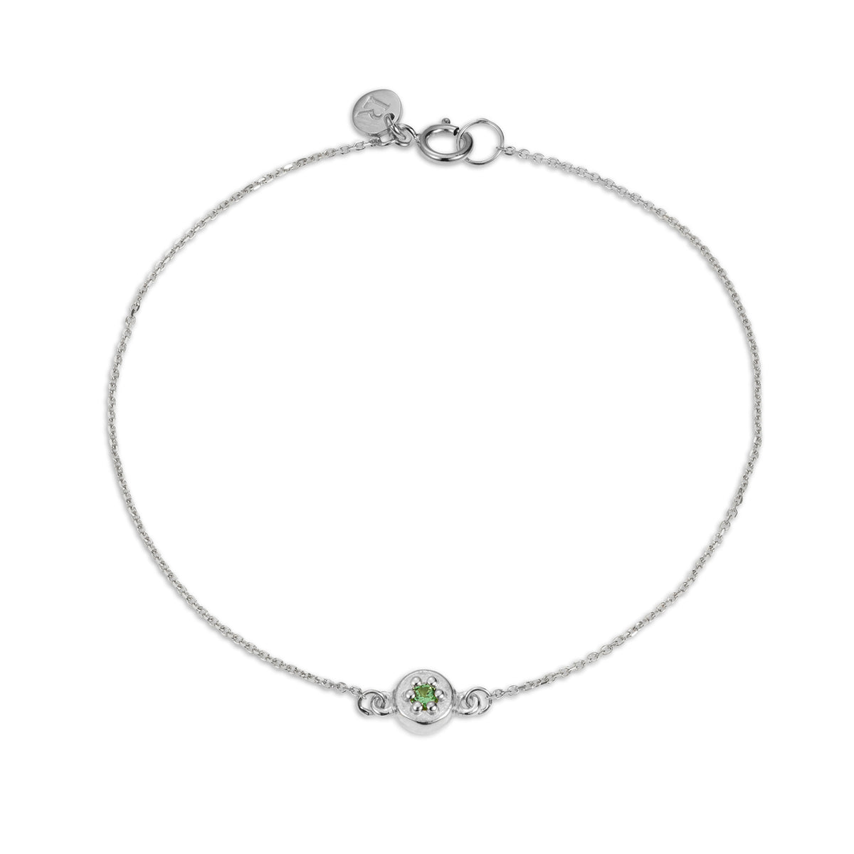 Luke Rose Jewellery silver poppy rock green tsavorite garnet bracelet