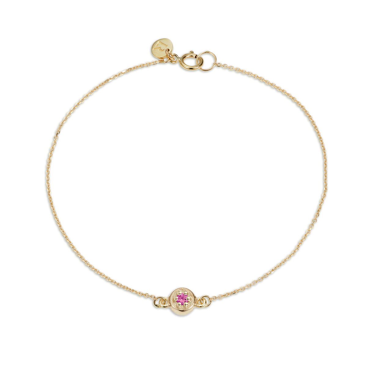 Luke Rose Jewellery gold pink sapphire poppy rock bracelet