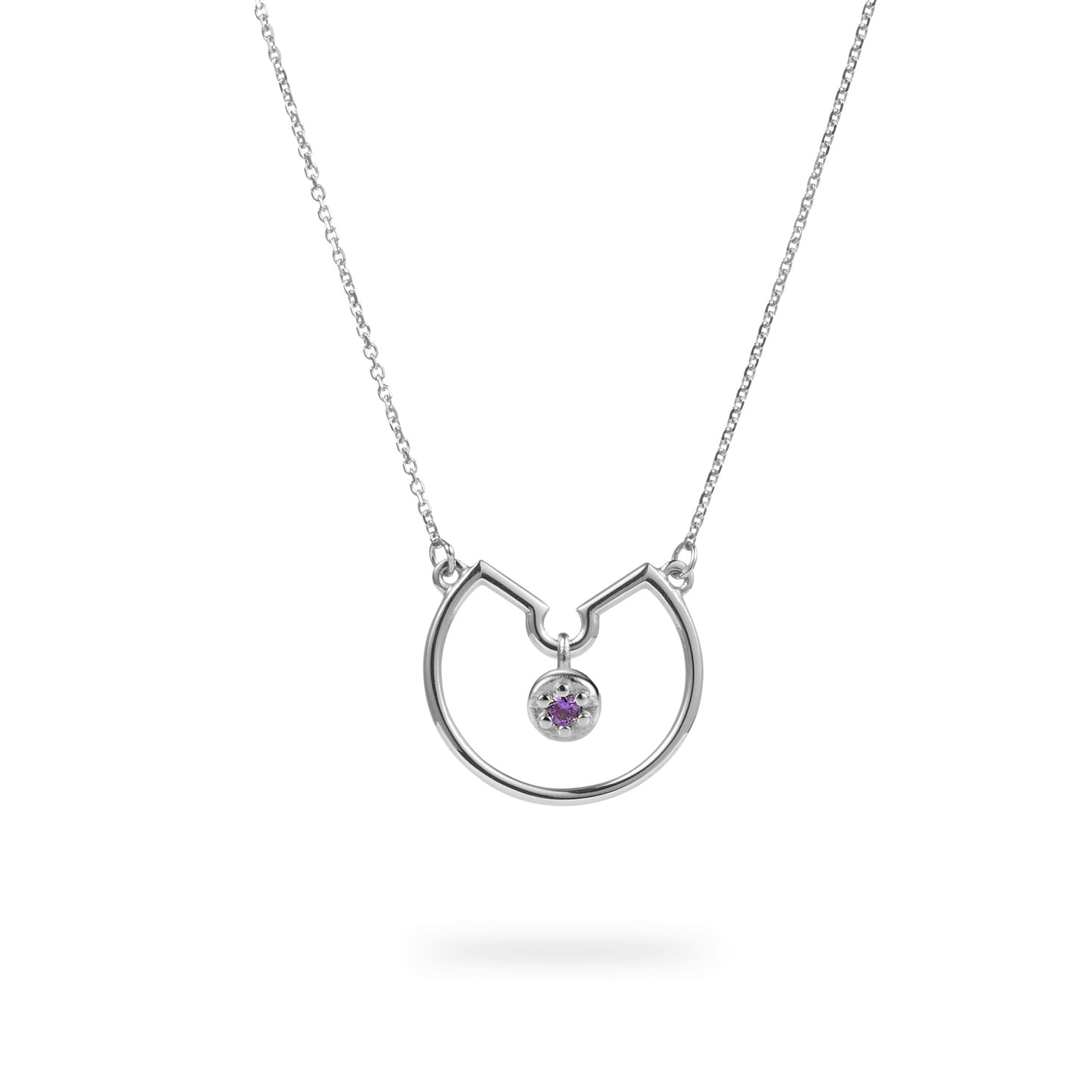 Luke Rose Jewellery silver amethyst hoop necklace