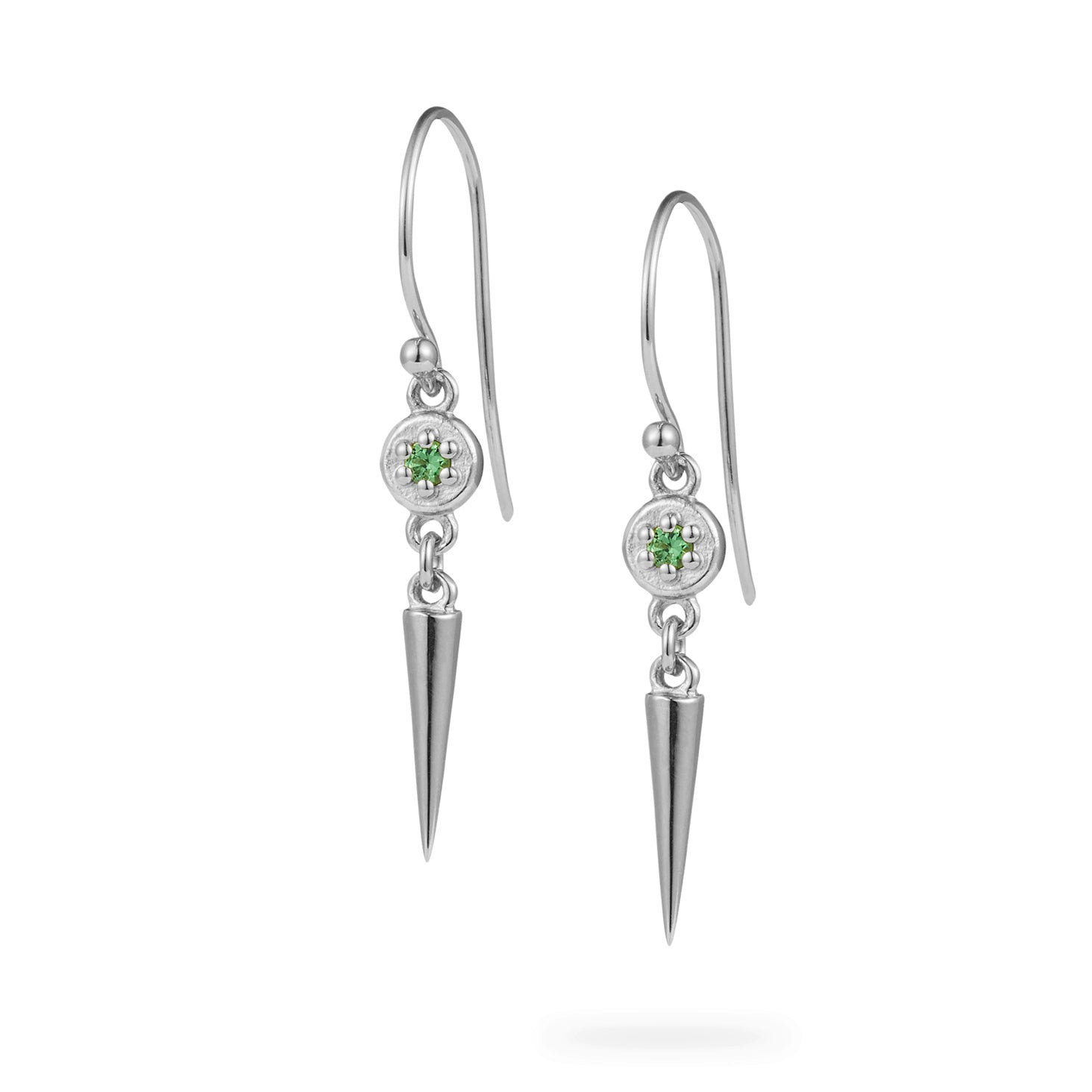 Luke Rose Jewellery green tsavorite garnet silver drop earrings