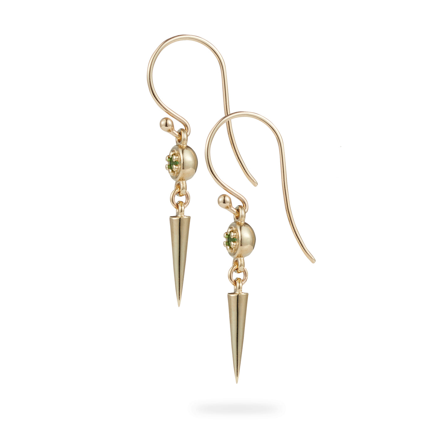 Luke Rose Jewellery gold green tsavorite garnet drop earrings