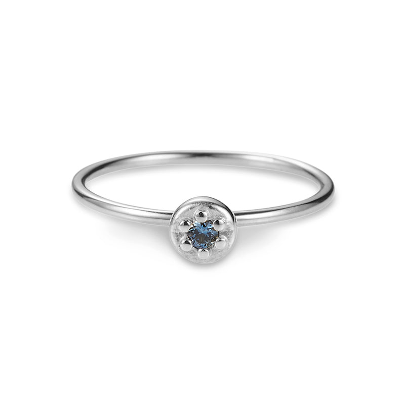 Luke Rose Jewellery silver blue sapphire stack ring