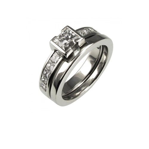 Princess cut diamond Platinum engagement ring with fitted wedding band.