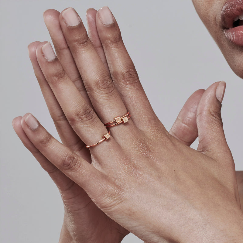 Cube Initial Ring in Rose Gold