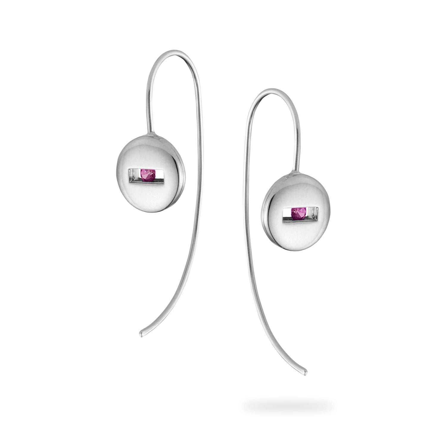 Luke Rose Jewellery Pink Sapphire Silver Earrings