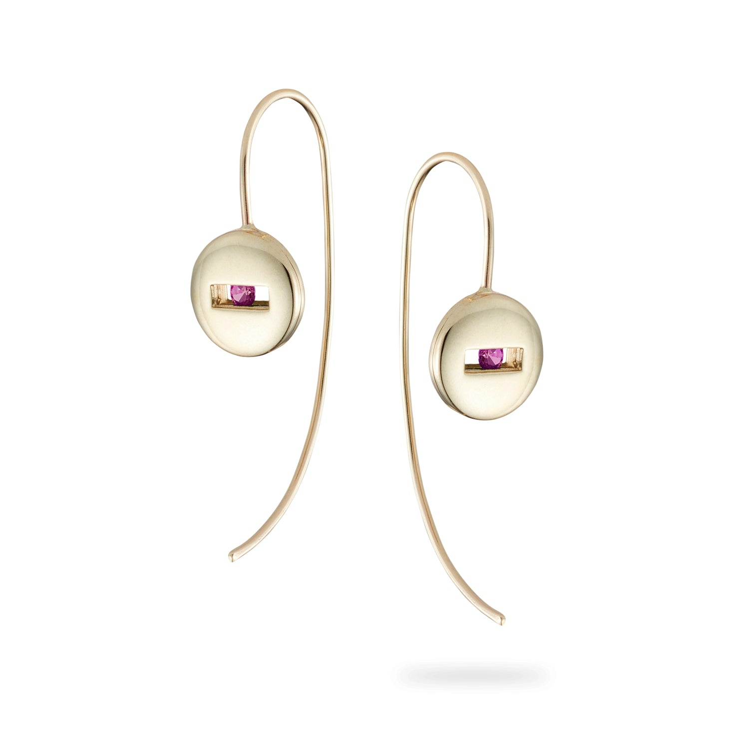 Luke Rose Jewellery Pink Sapphire Gold Earrings