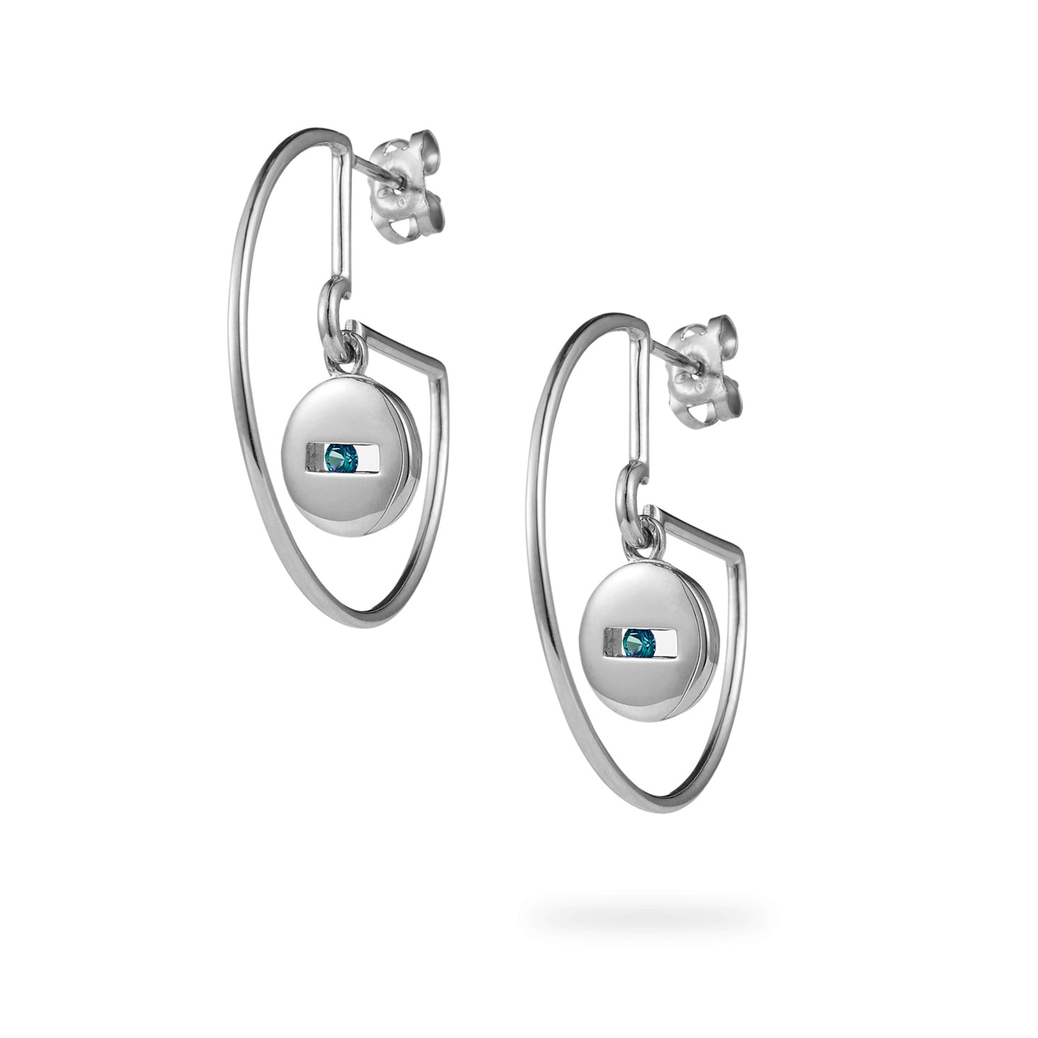 Luke Rose Jewellery silver and sapphire hoop earrings