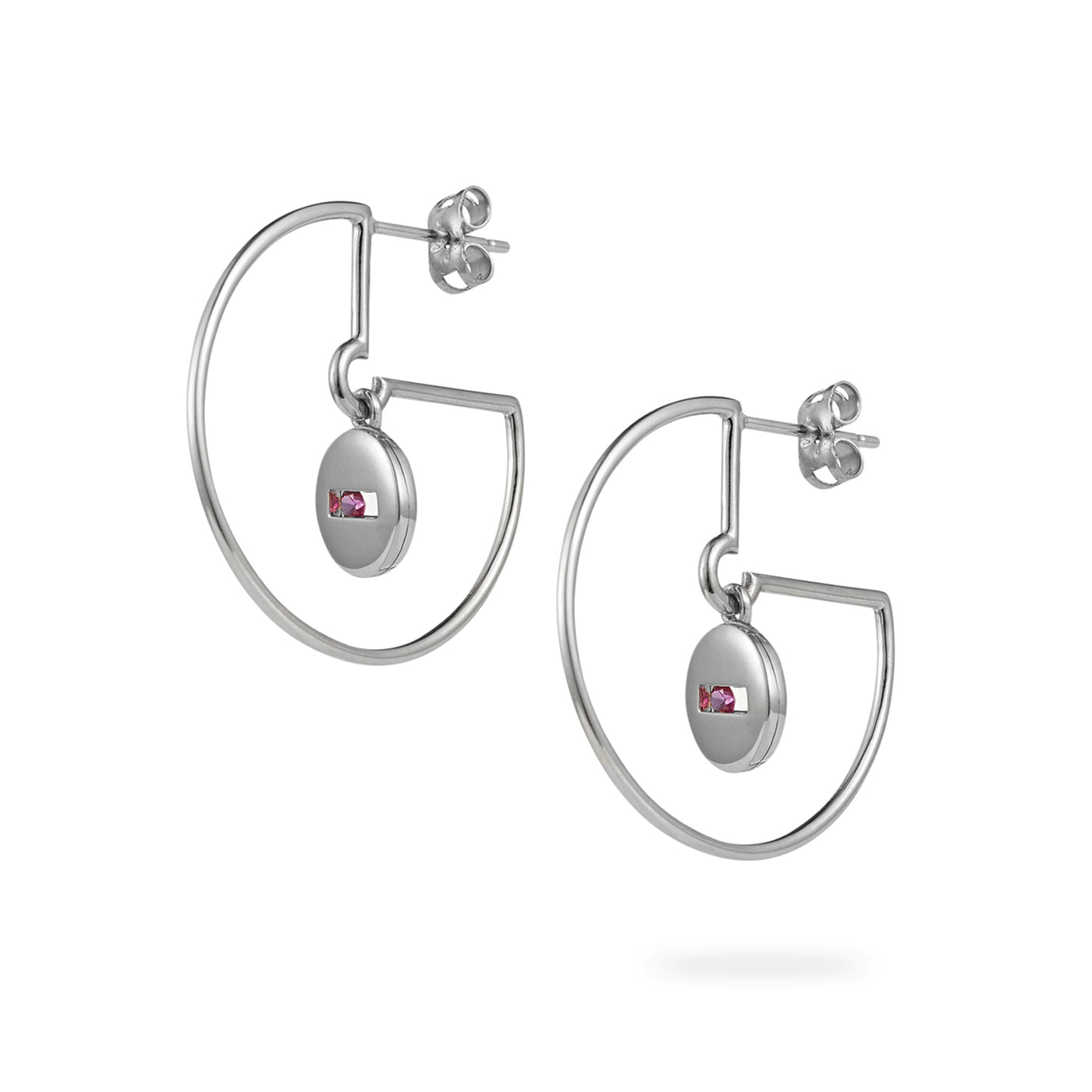 Luke Rose Jewellery silver and pink sapphire hoop earrings