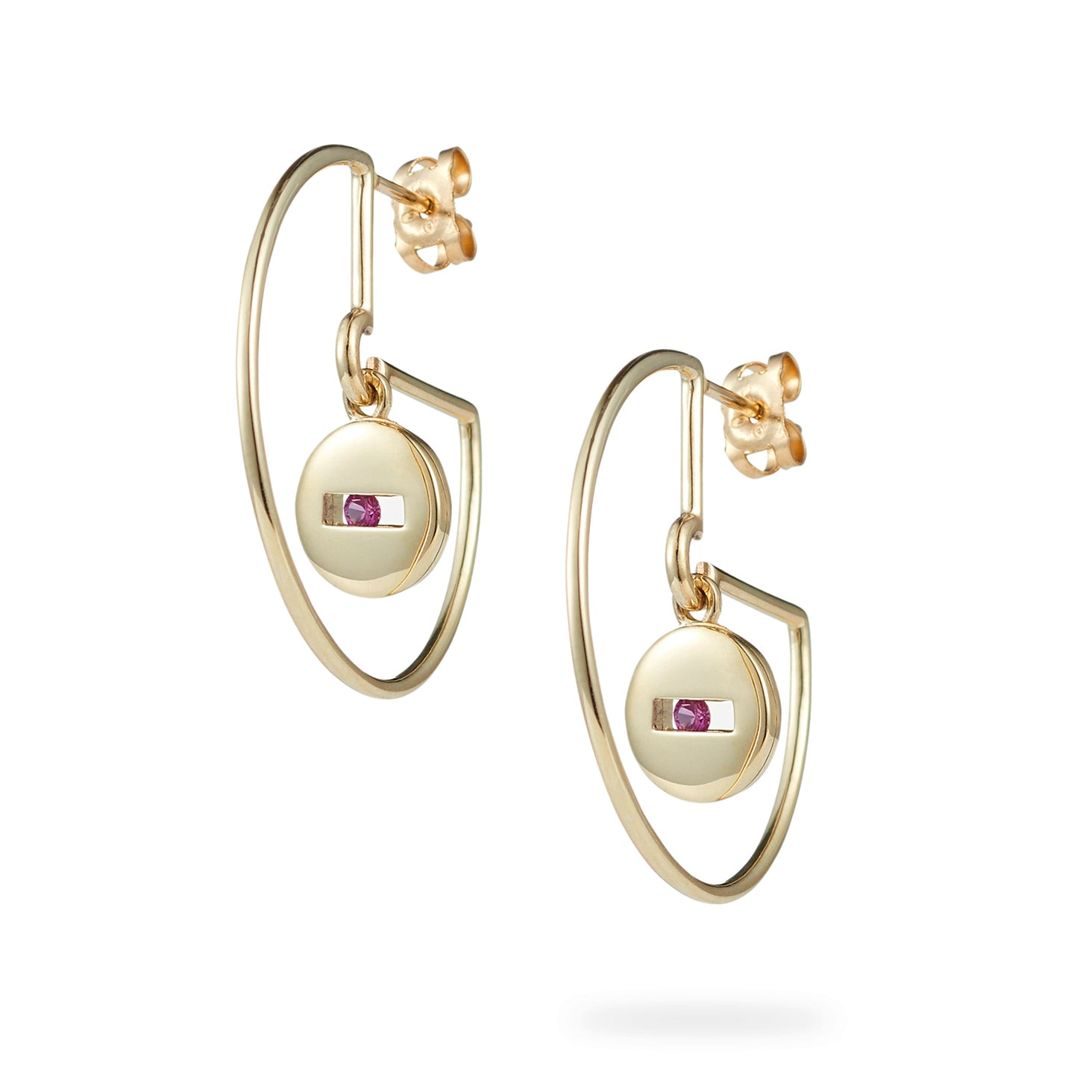 Luke Rose rock collection gold pink sapphire hoop earrings
