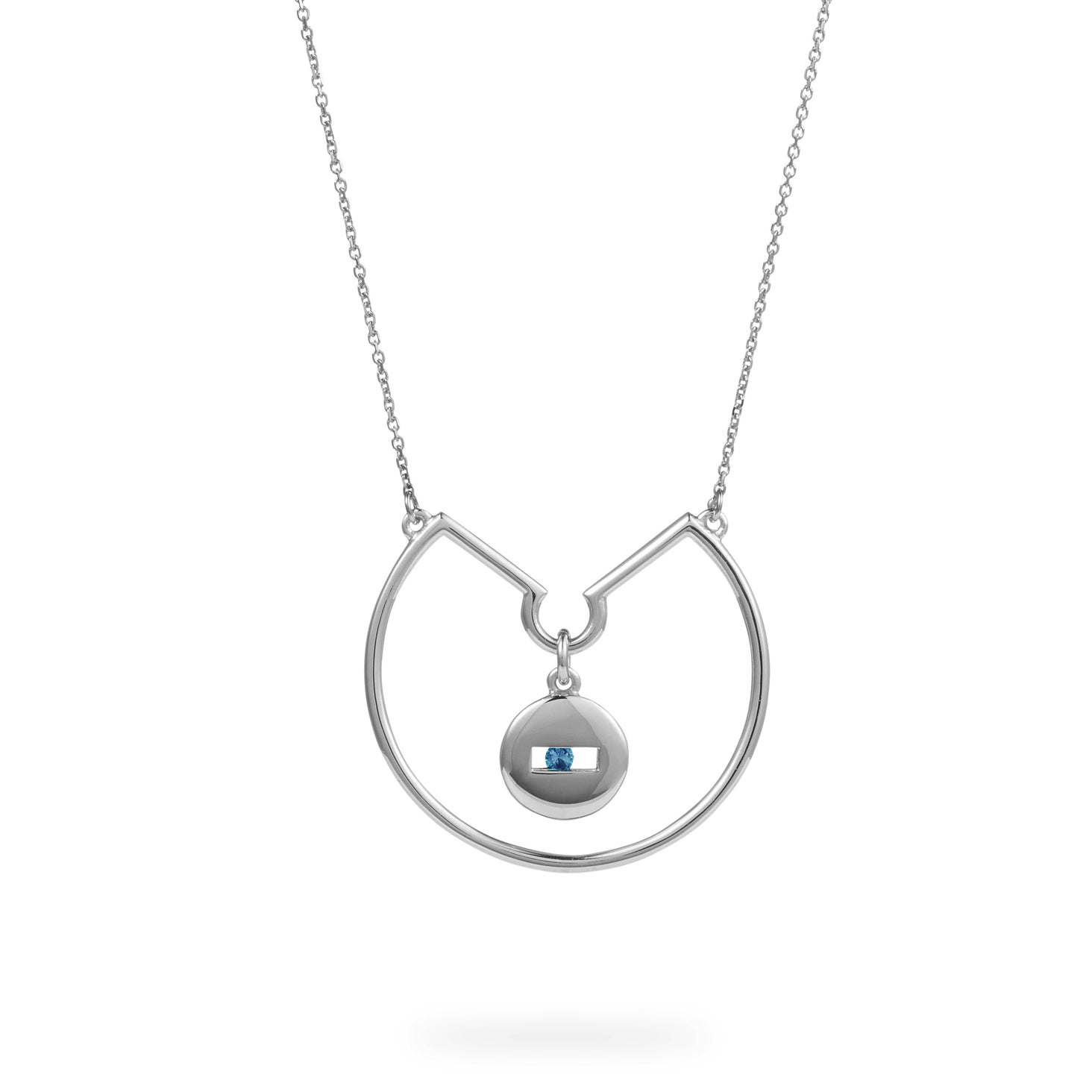 Luke Rose Jewellery silver blue sapphire hoop necklace