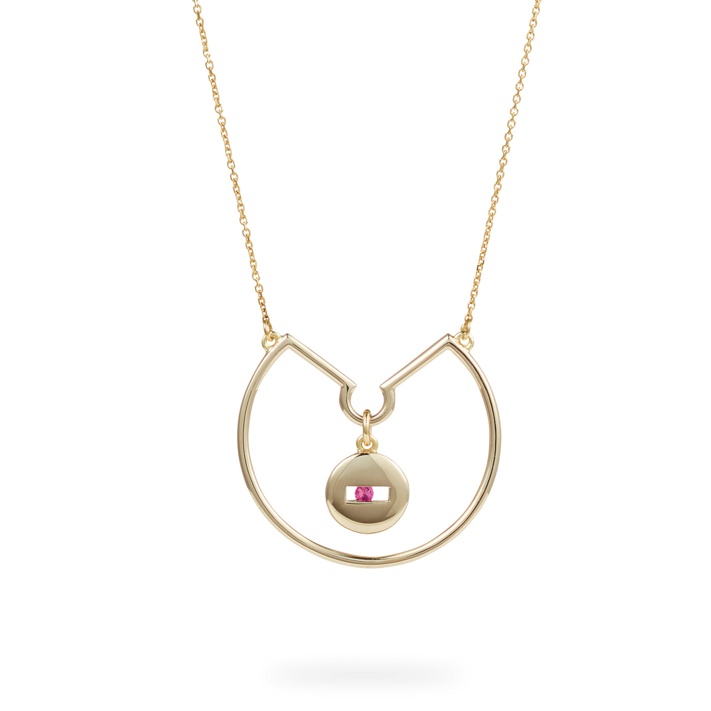 Luke Rose Jewellery pink sapphire gold hoop necklace