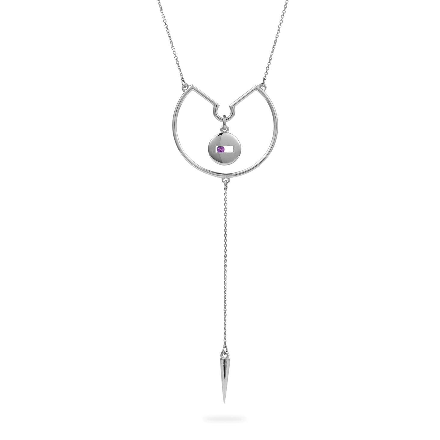 Luke Rose Jewellery silver amethyst drop necklace