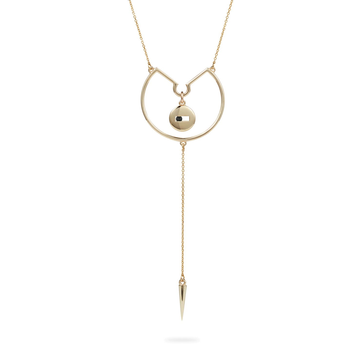 Luke Rose Jewellery gold black sapphire drop necklace