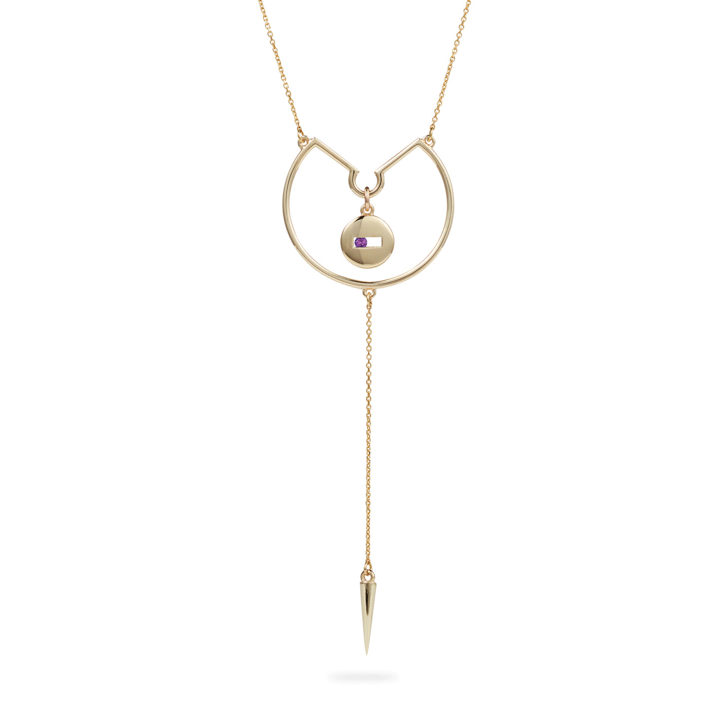 Luke Rose Jewellery gold amethyst drop necklace
