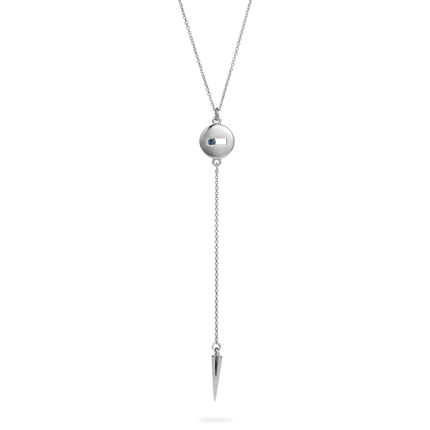 Luke Rose Jewellery silver blue sapphire drop necklace