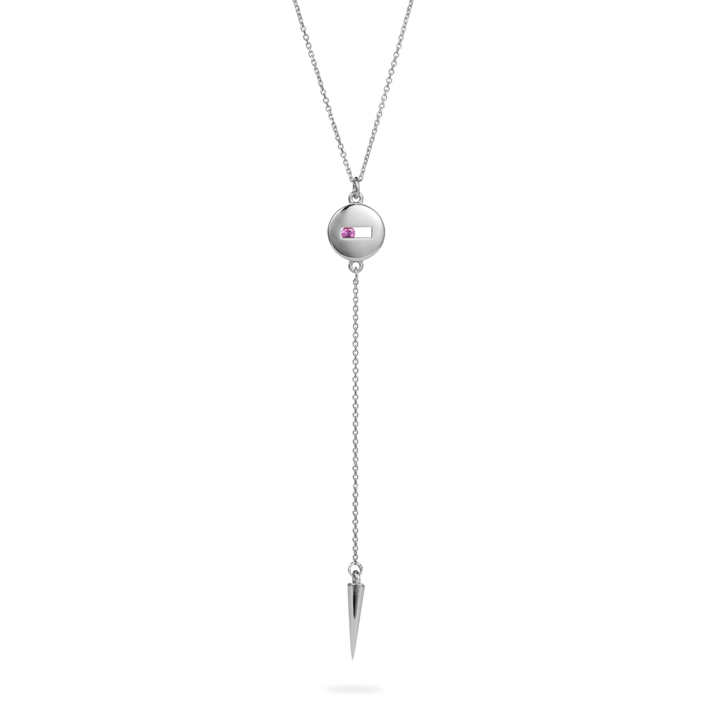 Luke Rose Jewellery silver pink sapphire drop necklace