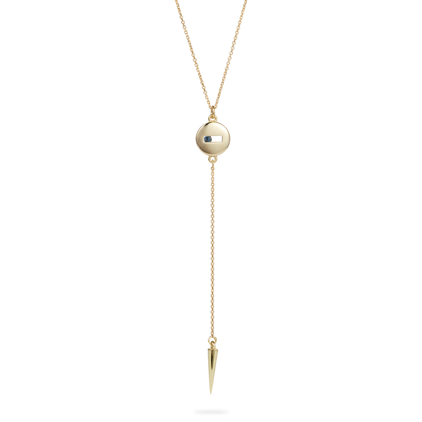 Luke Rose Jewellery gold blue sapphire drop necklace