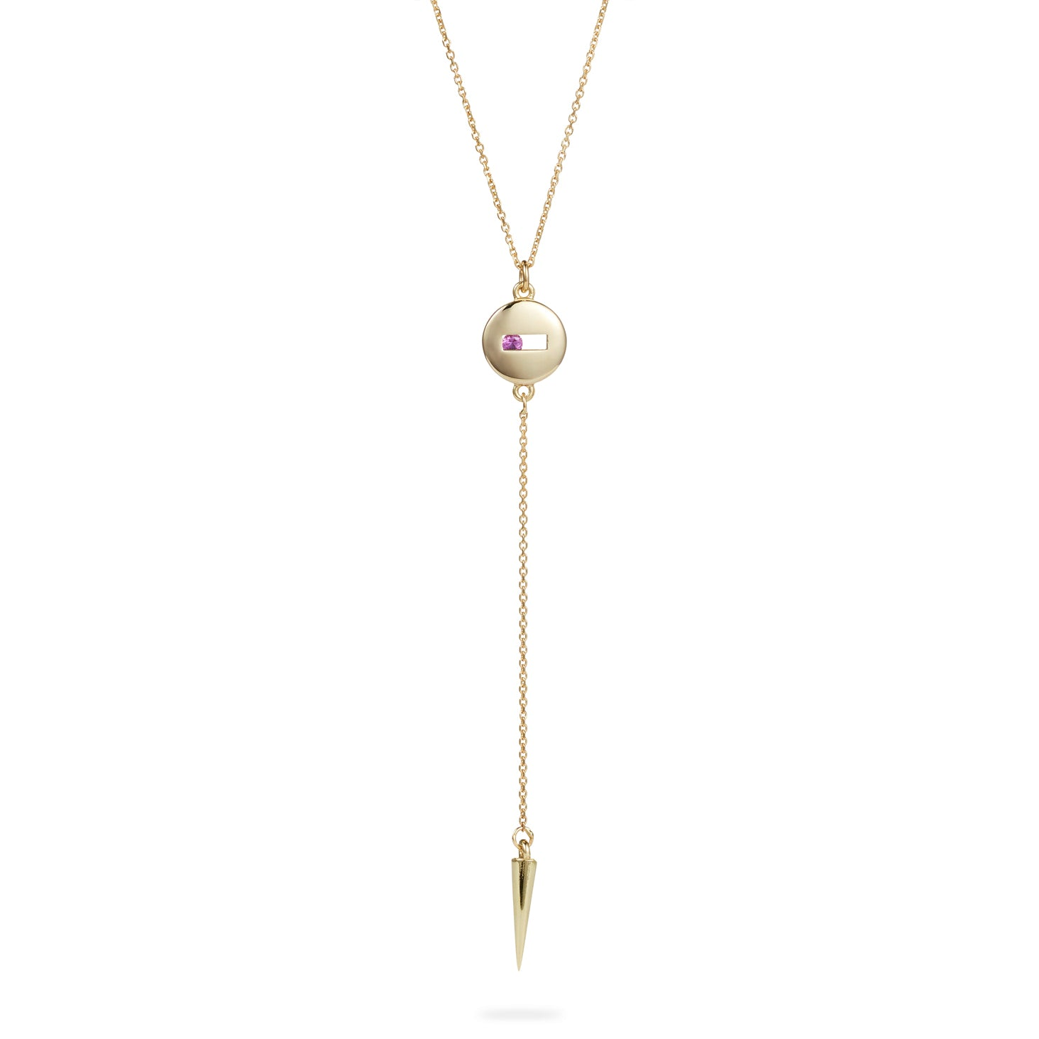 Luke Rose Jewellery gold pink sapphire drop necklace