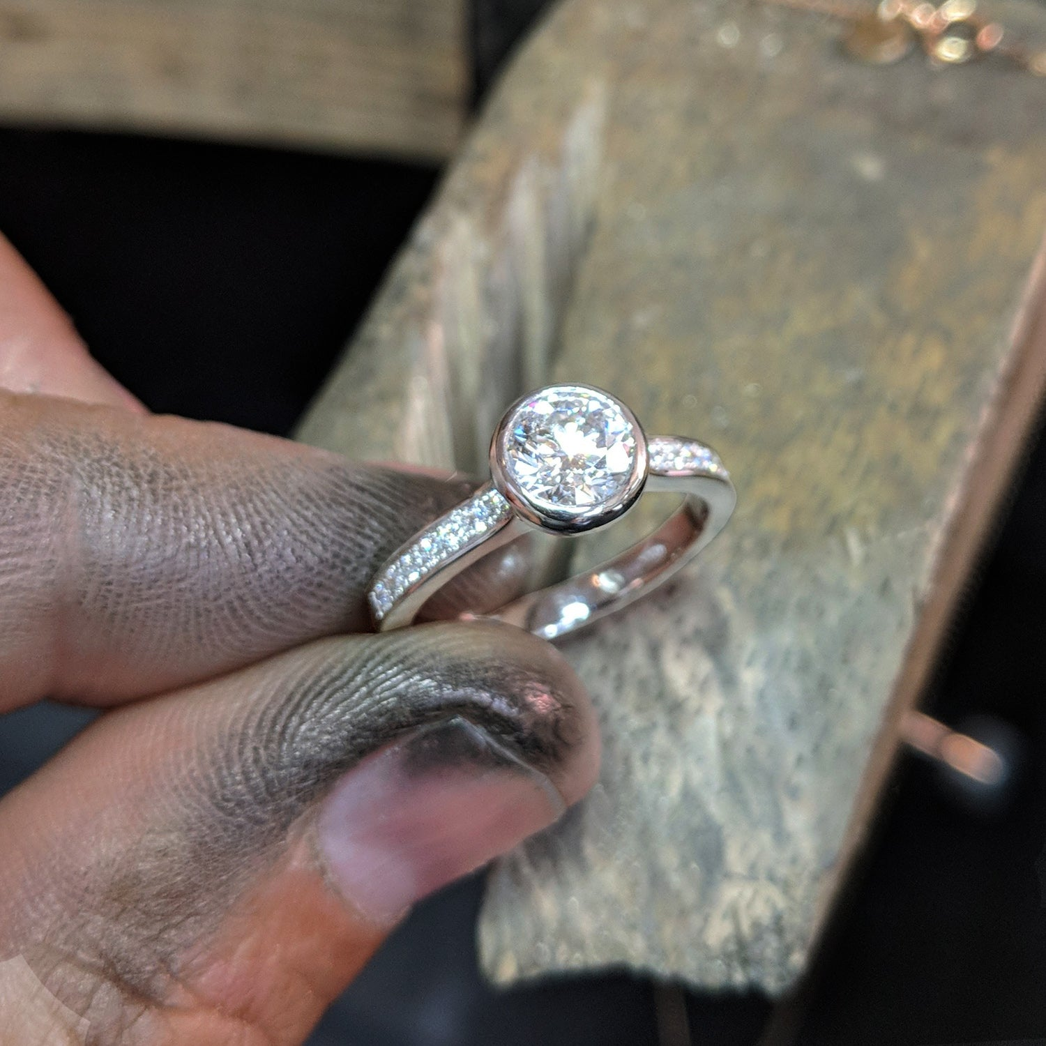 Bezel Set Platinum Engagement Ring