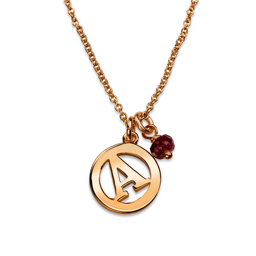 ME & MY Ruby Initial Necklace Rose Gold