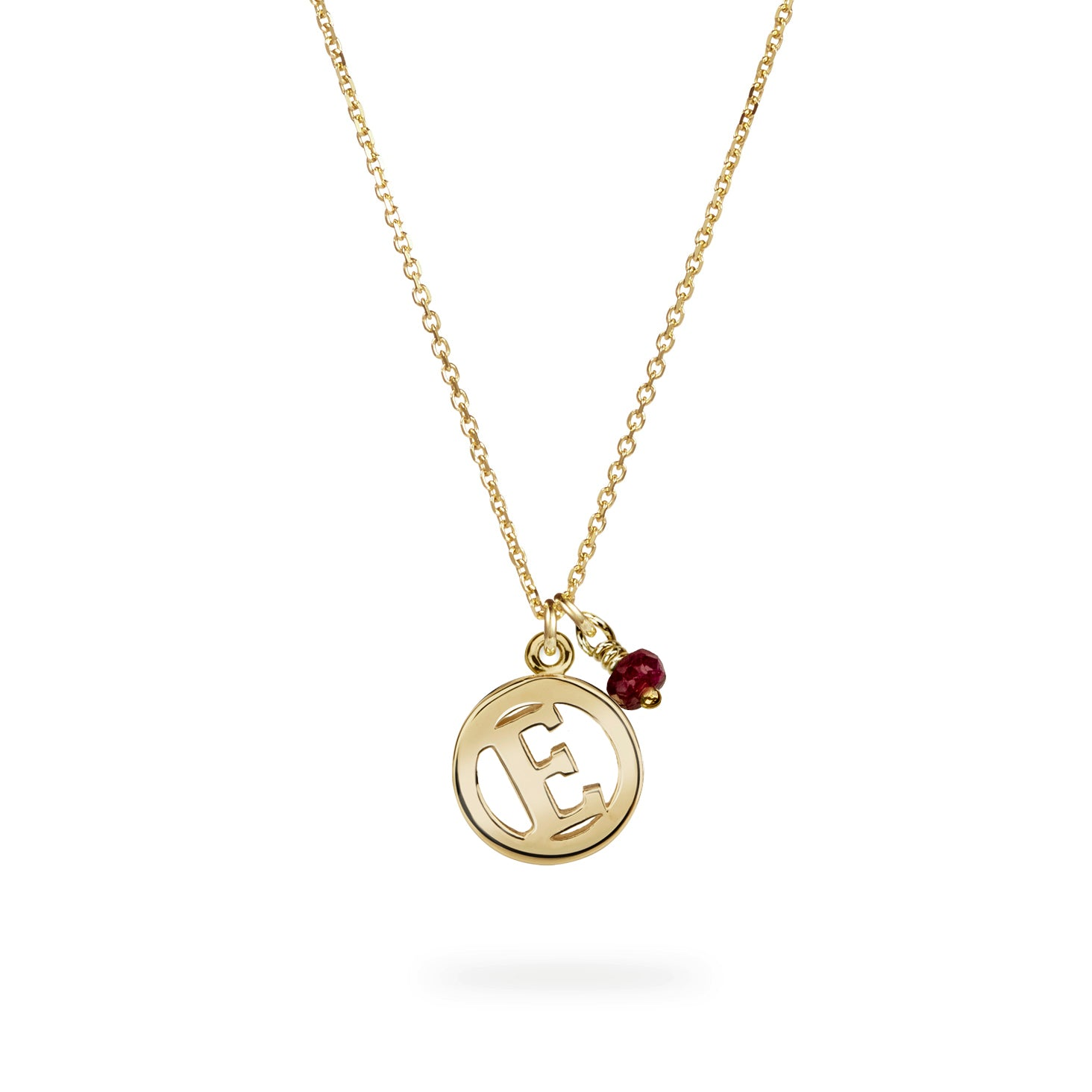 Luke Rose Jewellery gold ruby initial necklace