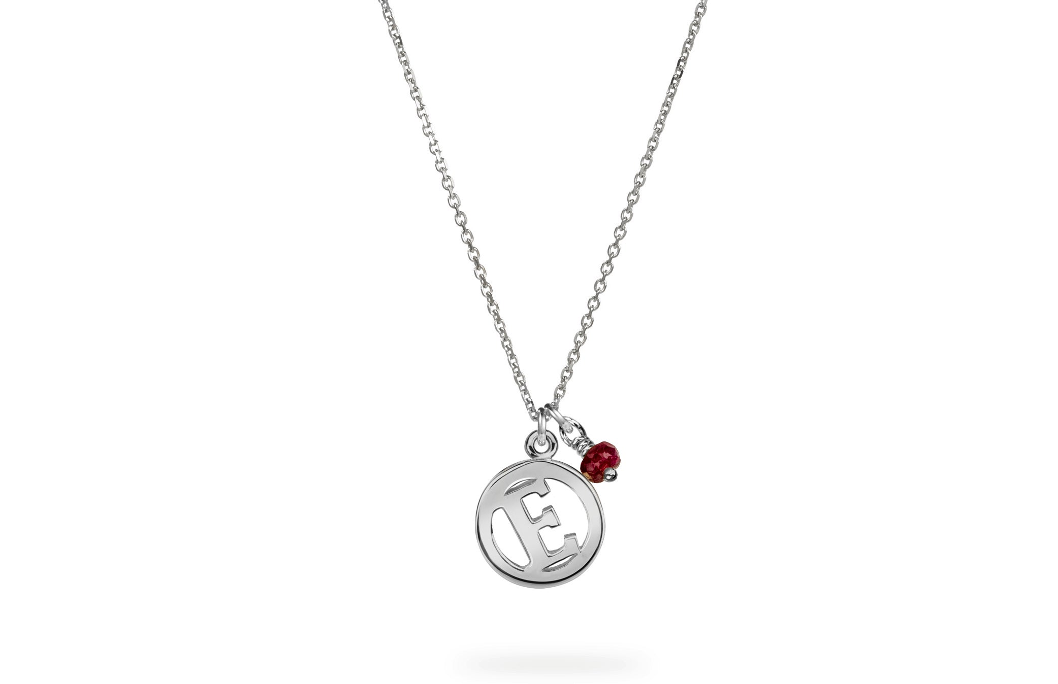 Luke Rose Jewellery silver ruby initial necklace