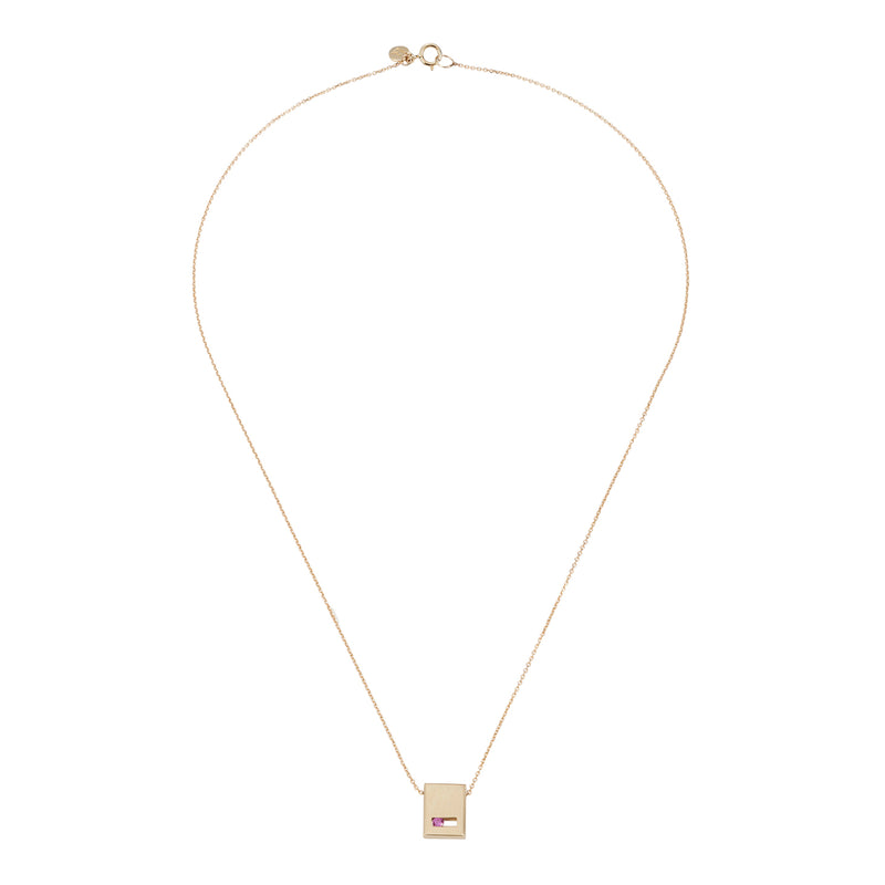 Luke Rose Jewellery gold pink sapphire slate necklace