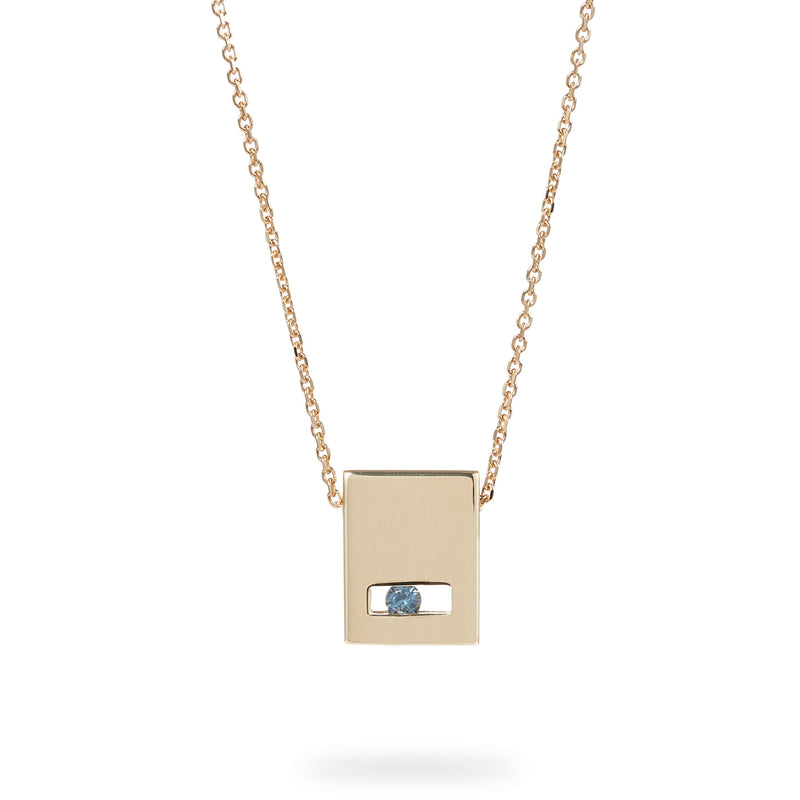 Luke Rose Jewellery gold blue sapphire slate necklace