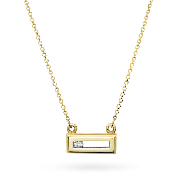 Sliding Rock Necklace in Solid Gold