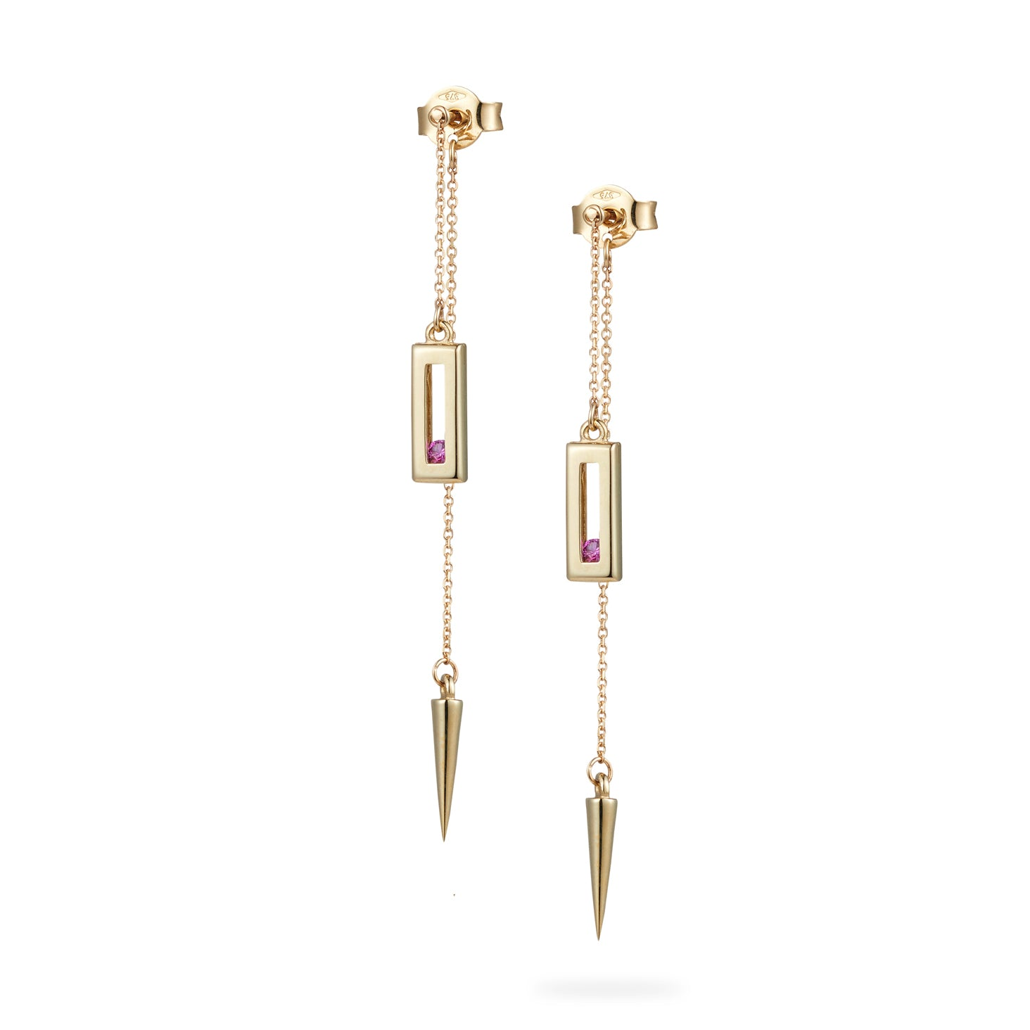Luke Rose Jewellery gold pink sapphire drop earrings