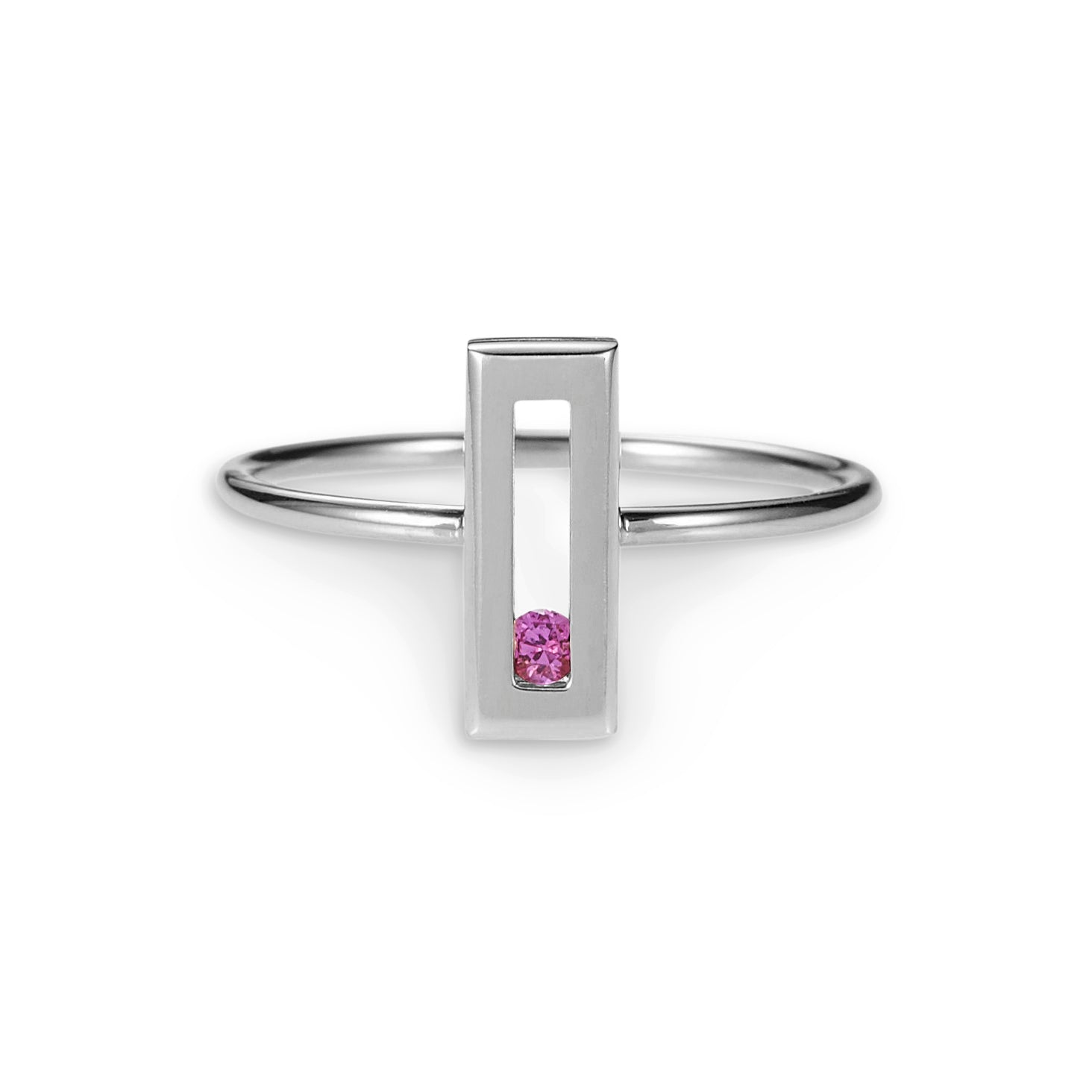 Luke Rose Jewellery silver pink sapphire stack ring