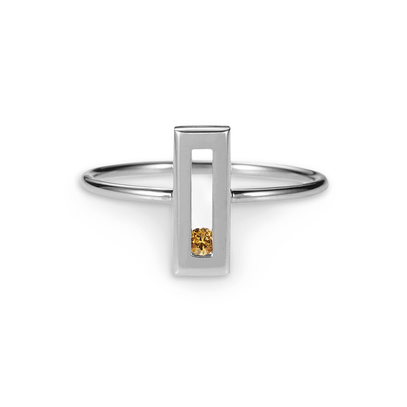 Luke Rose Jewellery silver yellow sapphire stack ring