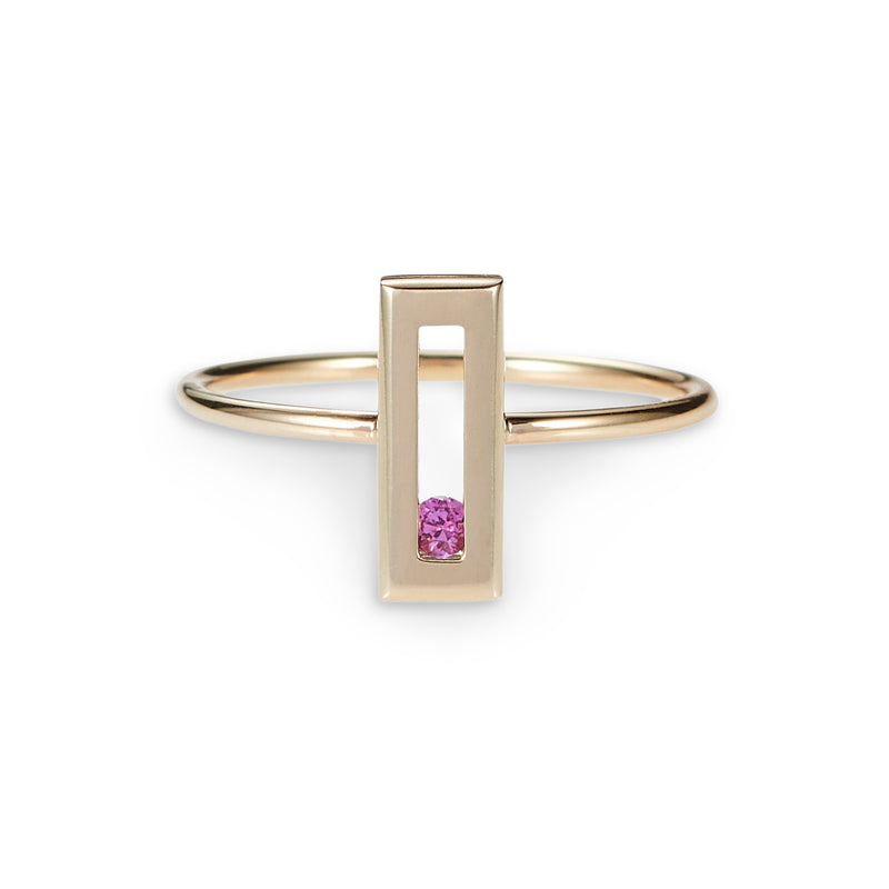 Luke Rose Jewellery pink sapphire gold stack ring