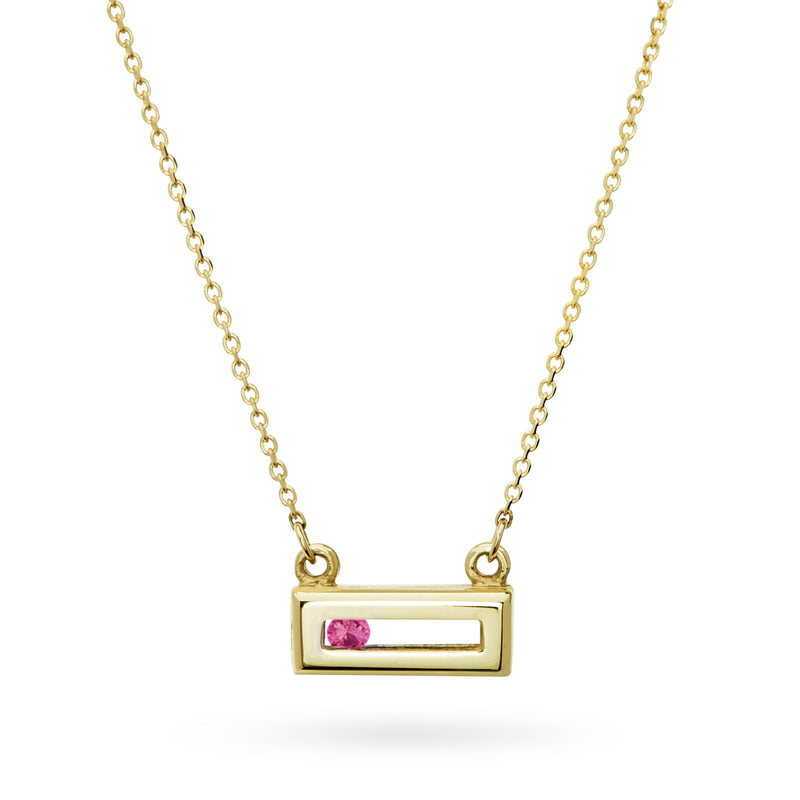 Pink Sapphire Sliding Rock Necklace in Solid Gold