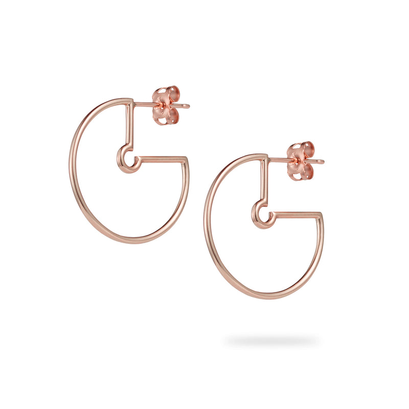 Small Naked Hoop Earrings in Rose Gold