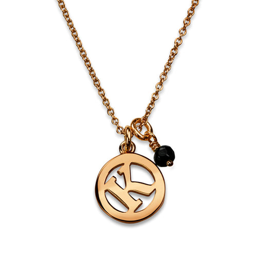 ME & MY Black Spinel Initial Necklace Rose Gold