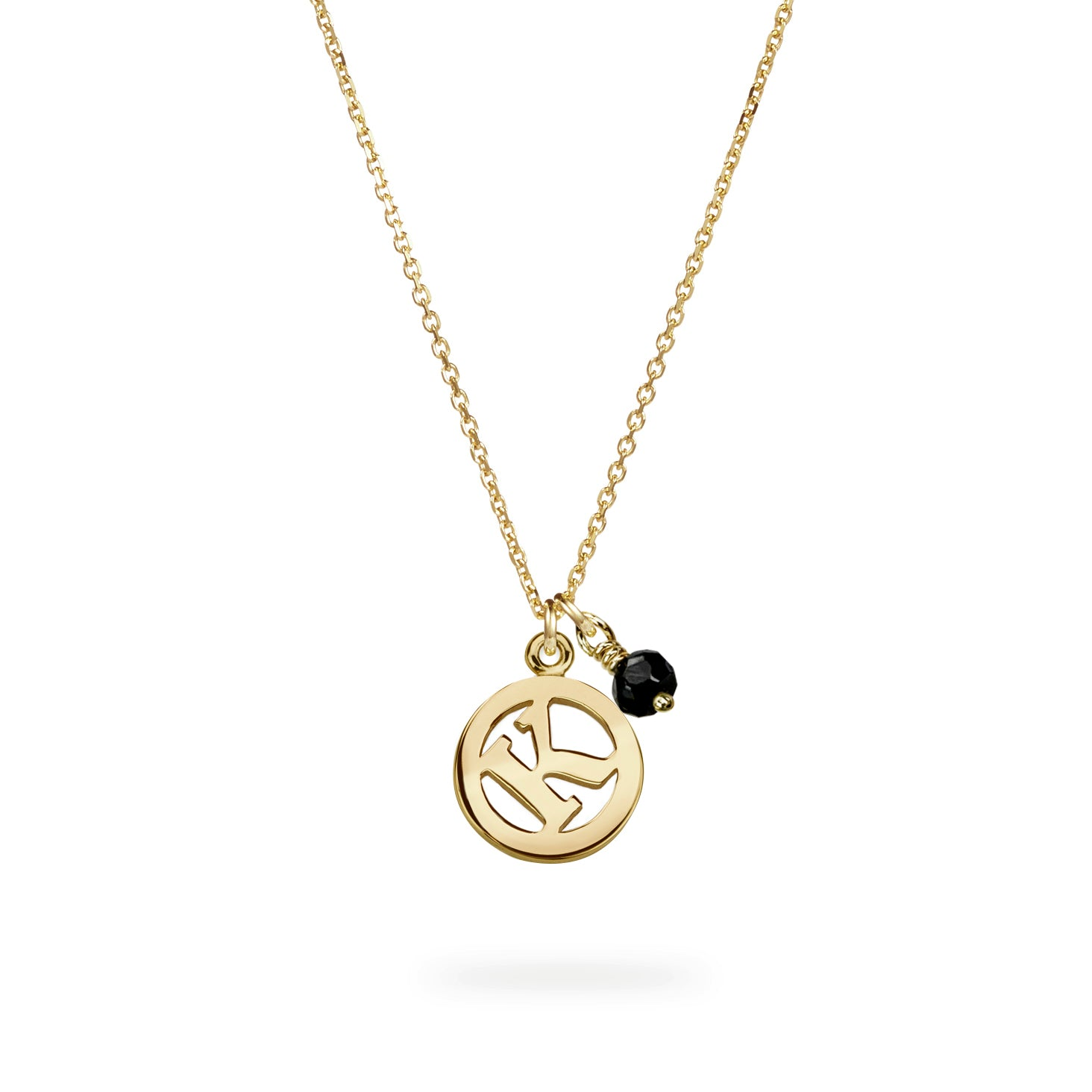 Luke Rose Jewellery gold black spinel initial necklace