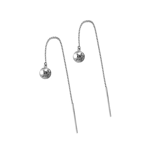 ELEMENTS Star Bud Thread Earrings Rhodium