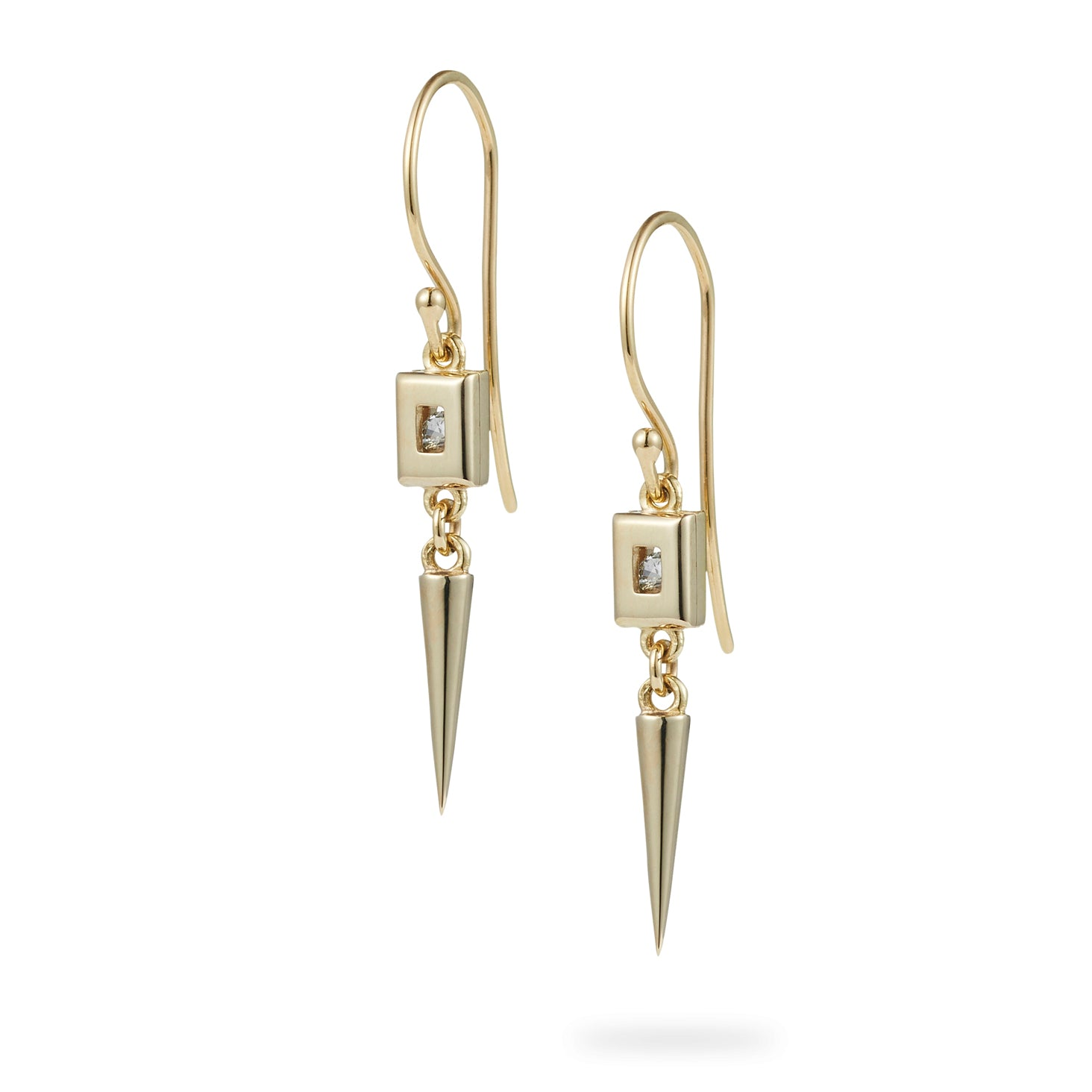Luke Rose Jewellery gold white sapphire drop earrings