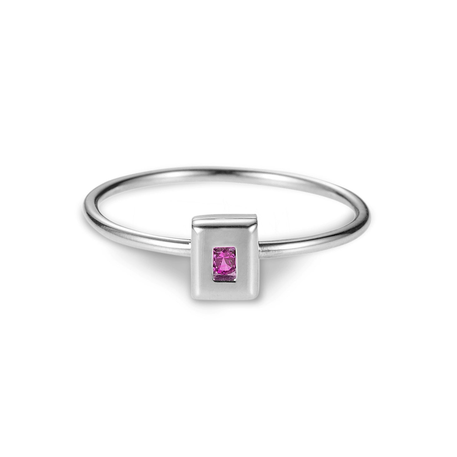 Luke Rose Jewellery rock collection pink sapphire silver stack rings