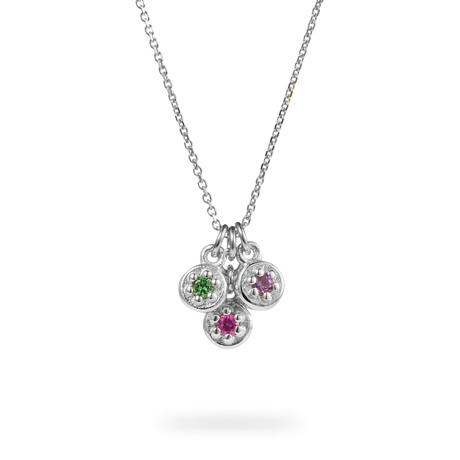 Luke Rose Jewellery silver 3 stone poppy rock necklace
