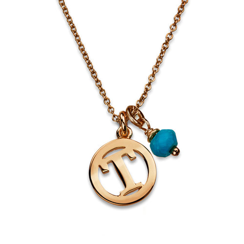 ME & MY Turquoise Initial Necklace Rose Gold