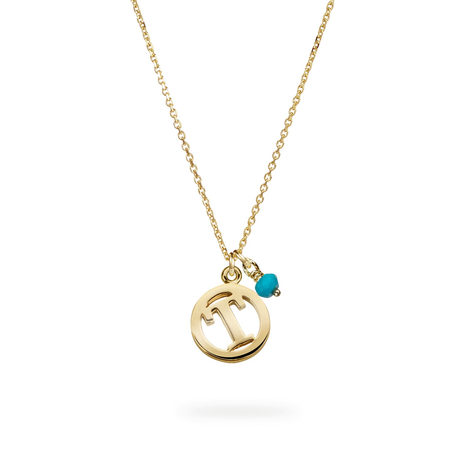 Luke Rose Jewellery gold turquoise initial necklace