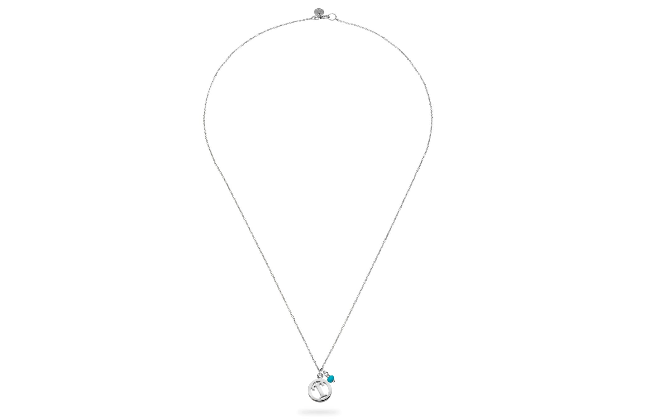 Luke Rose Jewellery silver turquoise initial necklace