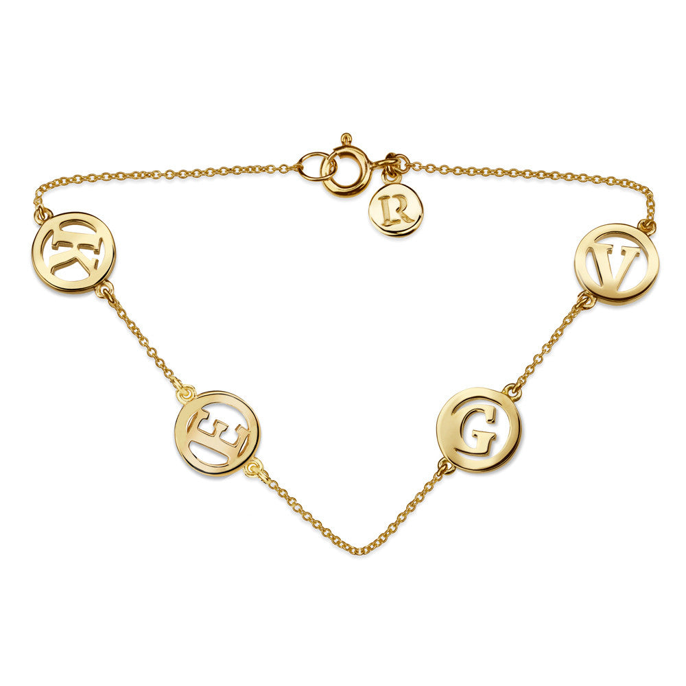 ME & MY 4 Initial Unity Bracelet Yellow Gold